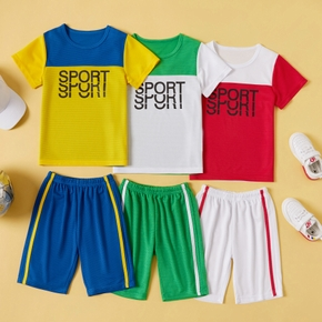 Color block Letter Print Tee and Shorts Athleisure Set for Toddlers/Kids
