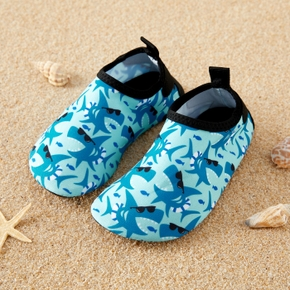 Blue Shark Print Cartoon Athleisure Water Beach Shoes for Toddlers / Kids