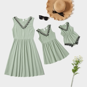 Solid Green Tassel Sleeveless Matching Mini Dresses for Mommy and Me