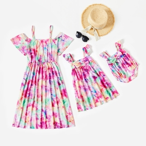 Mosaic Tie Dyed Color Block Flutter-sleeve Matching Midi Dresses