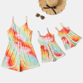 Tie Dyed Sleeveless Matching Sling Shorts Rompers
