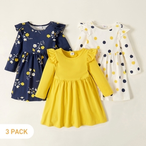 3-pack Toddler Girl Floral and Polka Dots Long-sleeve Dress Set