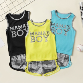 Letter Tank and Camouflage Shorts Athleisure Set for Toddlers/Kids