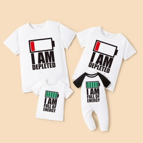 Energy Charging Family Matching T-shirts(Raglan Sleeves Rompers for Baby)