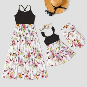Mosaic Floral and Butterfly Print Sleeveless Matching Midi Sling Dresses