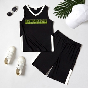 'Basketball' Letter Color Block Tank Top and Shorts Athletic Set for Toddlers / Kids