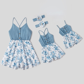 Floral Print Matching Blue Sling Shorts Rompers