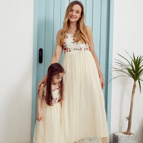 Floral Embroidered Matching Apricot Sling Maxi Dresses
