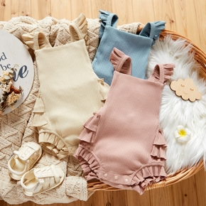 Solid Color Ruffle Decor Flutter-sleeve Ribbed Baby Romper