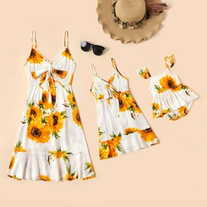 Sunflower Print Front Tie Sling Dresses for Mommy and Me