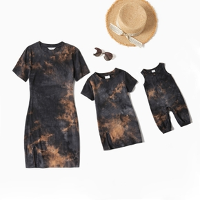 Tie-dye Dark Grey Skinny Mini Dresses for Mommy and Me(Loose Baby Rompers)