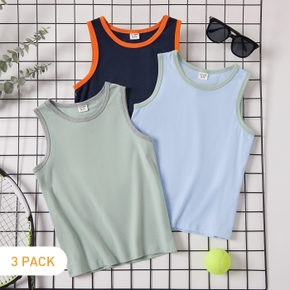 3-pack Solid Athleisure Tank Top for Toddlers and Kids