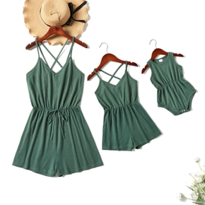 Solid Dark Green Cross Back Sling Rompers for Mommy and Me
