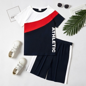 'Athletic' Letter Color Block Tee and Shorts Athleisure Set for Toddlers / Kids