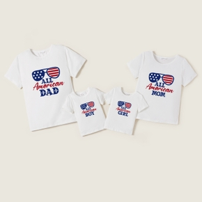 Mosaic Stars and Stripe Glasses 4th of July Family Matching Cotton Tees