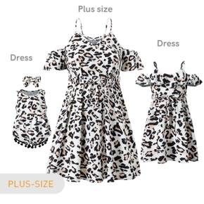 Mommy and Me Off-shoulder Leopard Dresses