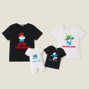 Smurfs Family Boss Letter Print Family Matching Cotton Tees and Romper