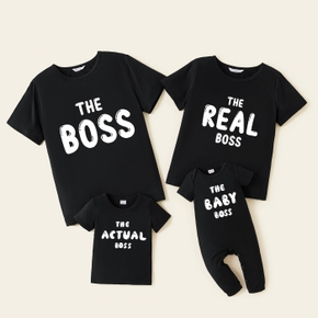 Mosaic 'BOSS' Print Cotton Family Matching Tees and Jumpsuit