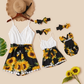 Sunflower Print Matching Sling Shorts Rompers