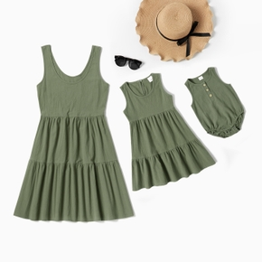 Solid Green Tank Dresses for Mommy and Me