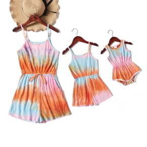 Tie-dye Series Sling Short Rompers for Mommy and Me