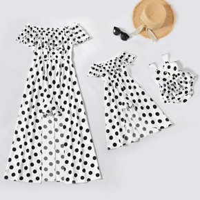 Polka Dots Print Off Shoulder Short-sleeve Matching  Black and White Shorts Rompers