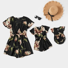 Floral Print Short-sleeve Matching Black Shorts Rompers