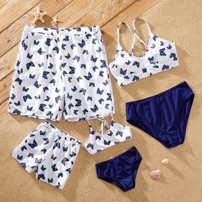 Butterfly Print Family Matching Swimsuits(2-piece Cross Back Swimsuits for Mommy and Girl;Swim Trunks for Dad and Boy)