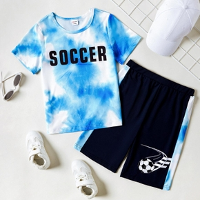 Letter Print Tie Dye Tee and Shorts Athleisure Set for Toddlers / Kids