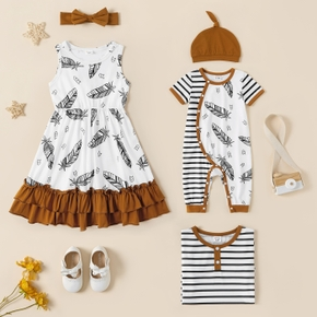 Feather and Stripe Print Splice Sibling Matching Ginger Sets