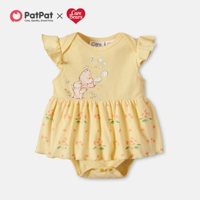 Care Bears Baby Girl 100% Cotton Floral Flounced Romper