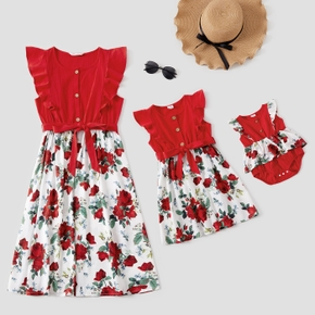 Floral Print Splice Flutter-sleeve Matching Red Midi Dresses