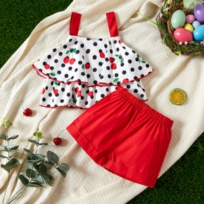 2pcs Baby Girl Sweet Cherry Sleeveless Cotton Baby's Sets Solid Shorts