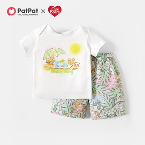 Care Bears 2-piece Baby Boy Summer Cotton Top and Palm Leaf Shorts Set