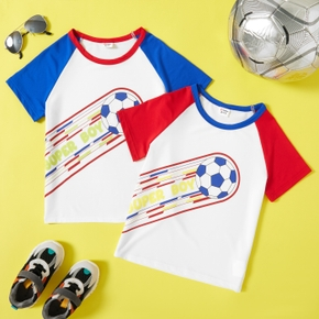 Football Print Color Block Sleeves Athleisure Tee for Toddlers / Kids