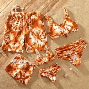 Tie-dye Series Family Matching Swimsuits(2-piece Tank Swimsuits for Mom and Girl ; Swim Trunks for Dad and Boy)