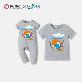 Smurfs  'Chilling' Print Cotton Tee and Jumpsuit for Siblings