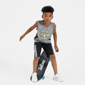 Letter Baseball Print Tank and Shorts Athleisure Set for Toddlers/Kids