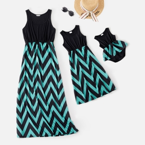 Wave Stripe Matching Stitching Maxi Tank Dresses for Mommy and Me