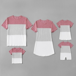 Stripe Series Family Matching Sets(Short Sleeve T-shirt Dresses for Mommy and Girl)