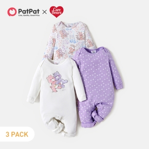 Care Bears 3-pack Cotton Fun Time Floral Baby Rompers Set