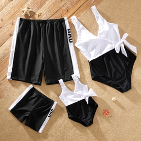 Solid Black and White Splice Series Family Matching Swimsuits(One-piece Side Tie Tank Swimsuits for Mom and Girl ; Swim Trunks for Dad and Boy)