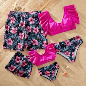 Floral Print Family Matching Swimsuits(2-piece Swimsuits for Mom and Girl ; Swim Trunks for Dad and Boy)