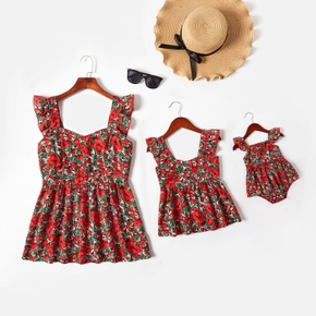Floral Print  Red Ruffle Sleeveless Tops for Mom and Me