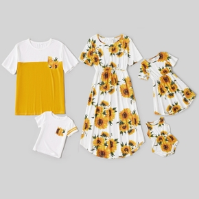 Sunflower Print Family Matching White and Color Block Sets(Irregular Hem Midi Dresses for Mom and Girl ; Loose Short Sleeve T-shirts for Dad and Boy)