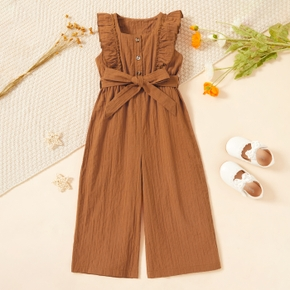 Toddler Girl Ruffled Button Design Sleeveless Solid Jumpsuit with Belt