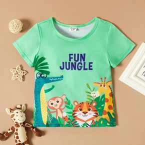 Toddler Boy Cute Animals And Letter Print Short-sleeve Tee