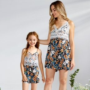 Lace Stitching Floral Print Matching Shorts Rompers