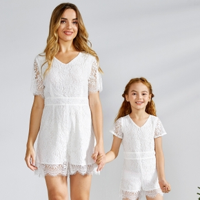 Solid White Short-sleeve Matching Lace Shorts Rompers