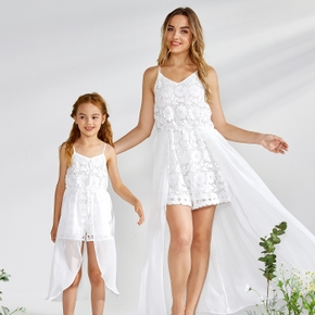 Lace Splice Mesh White Matching Sling Shorts Rompers